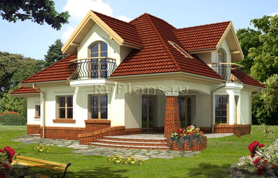 Проект загородного дома с гаражом R1376