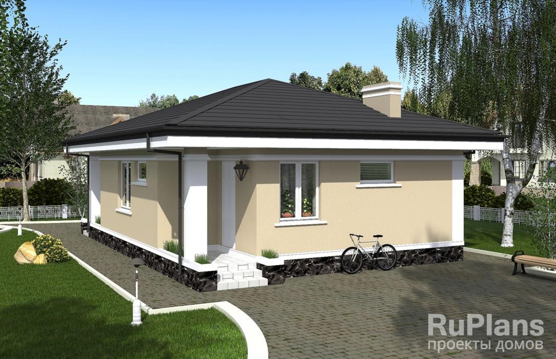 Проект одноэтажного дома с террасой Rg5097