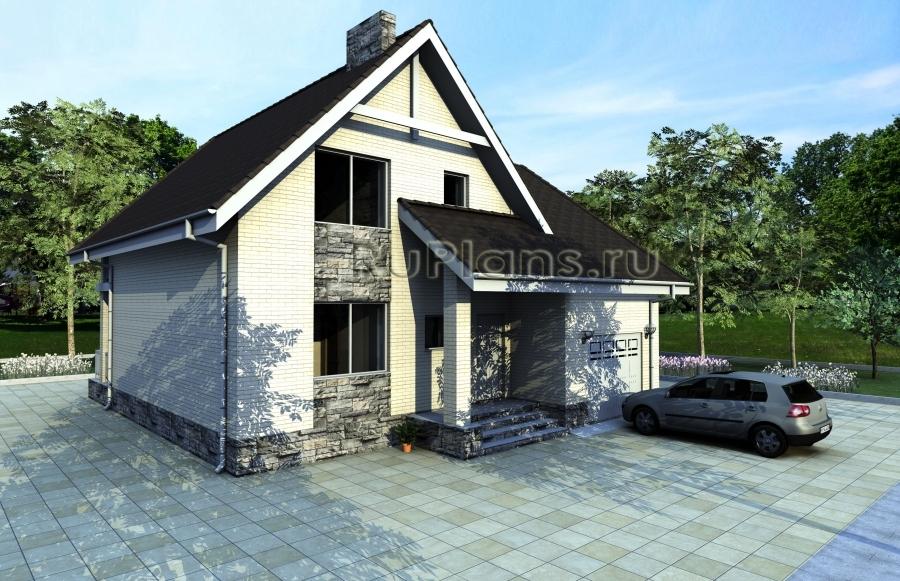 Дом с мансардой, гаражом, террасой и балконом Rg3863