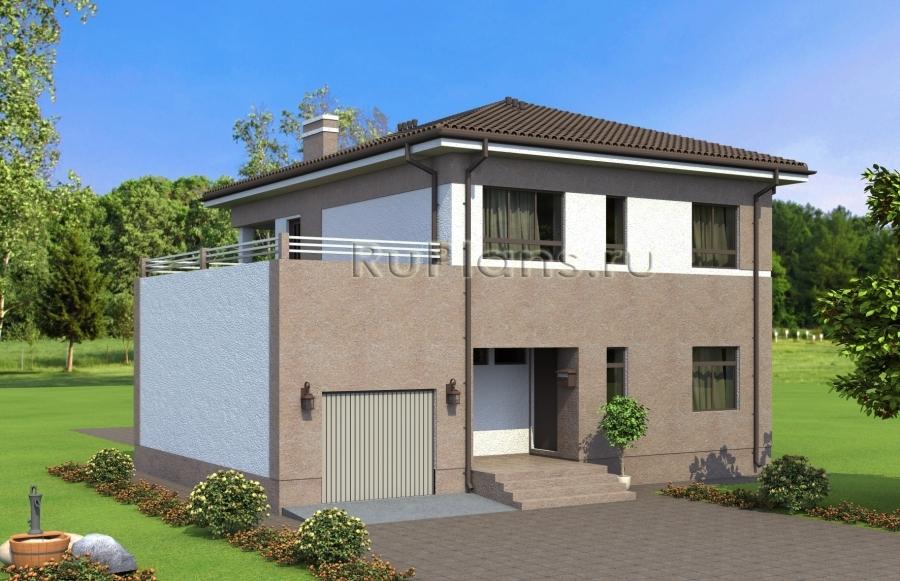 Проект двухэтажного дома с террасой над гаражом Rg4893