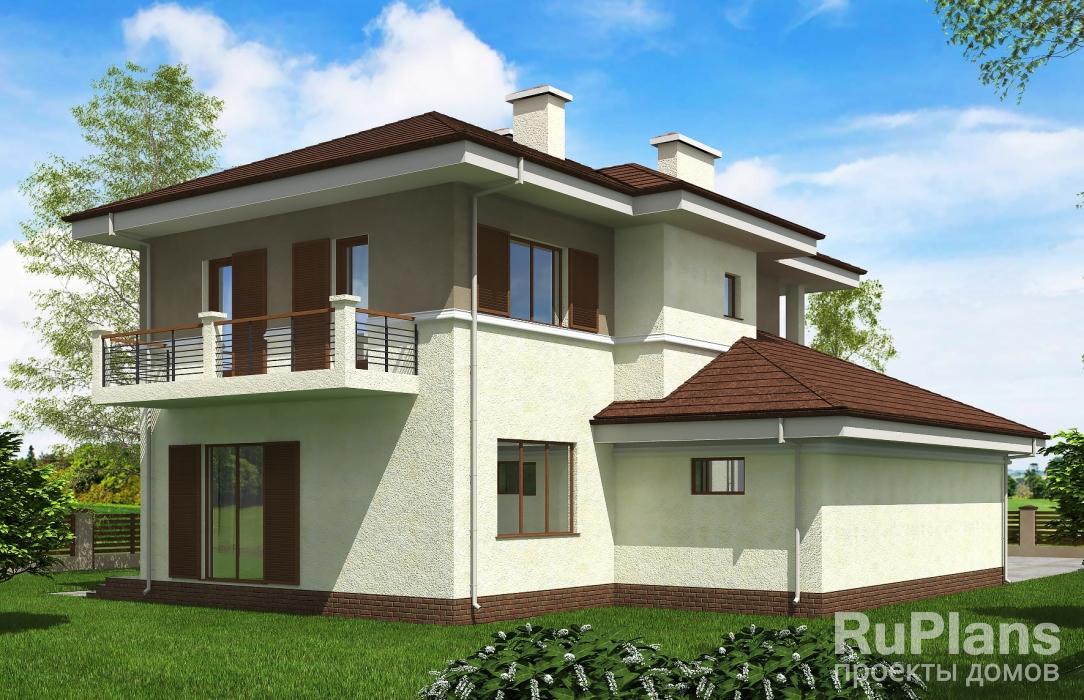 Проект двухэтажного жилого дома с гаражом и террасой Rg5198