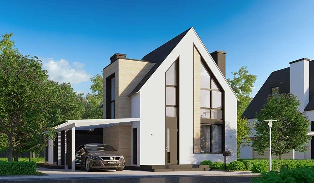 Современный двухэтажный дом с террасой и навесом под авто А19015