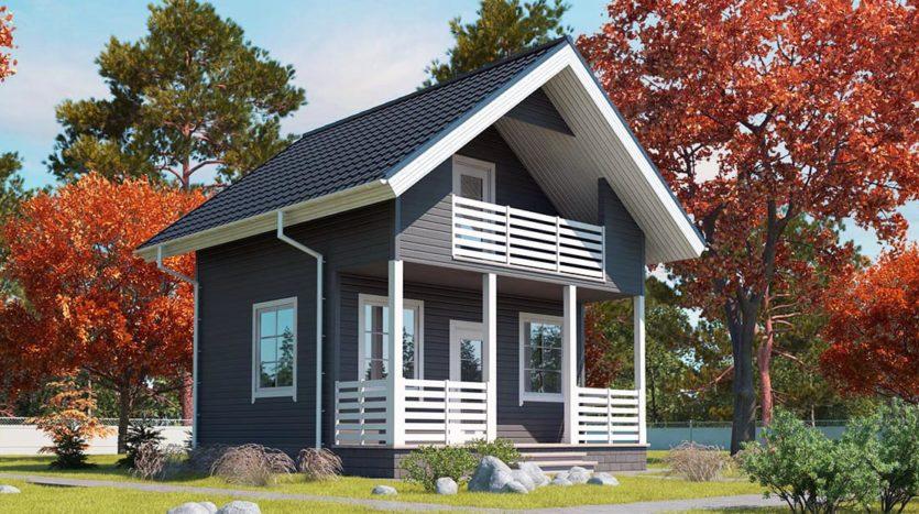 Небольшой двухэтажный домик с балконом и террасой А19002