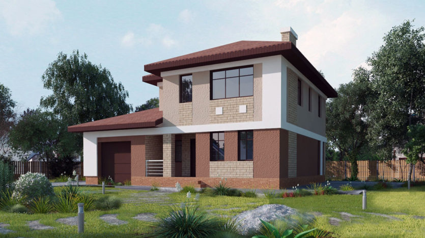 Двухэтажный дом с гаражом А19022