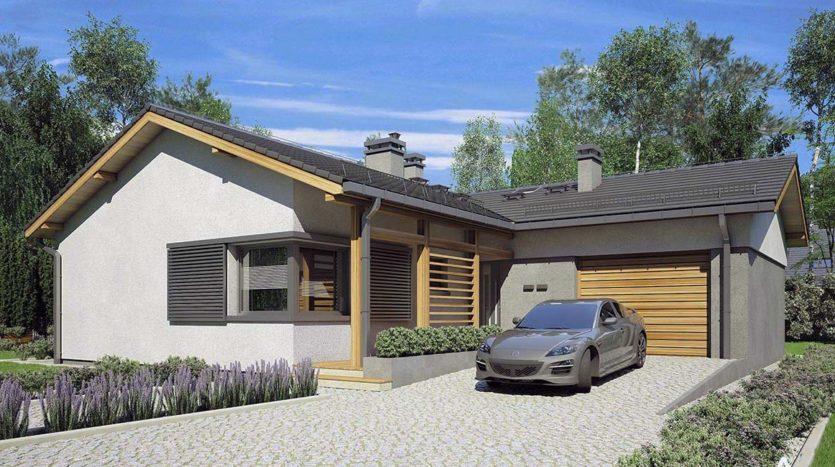 Финский одноэтажный дом с гаражом А19016
