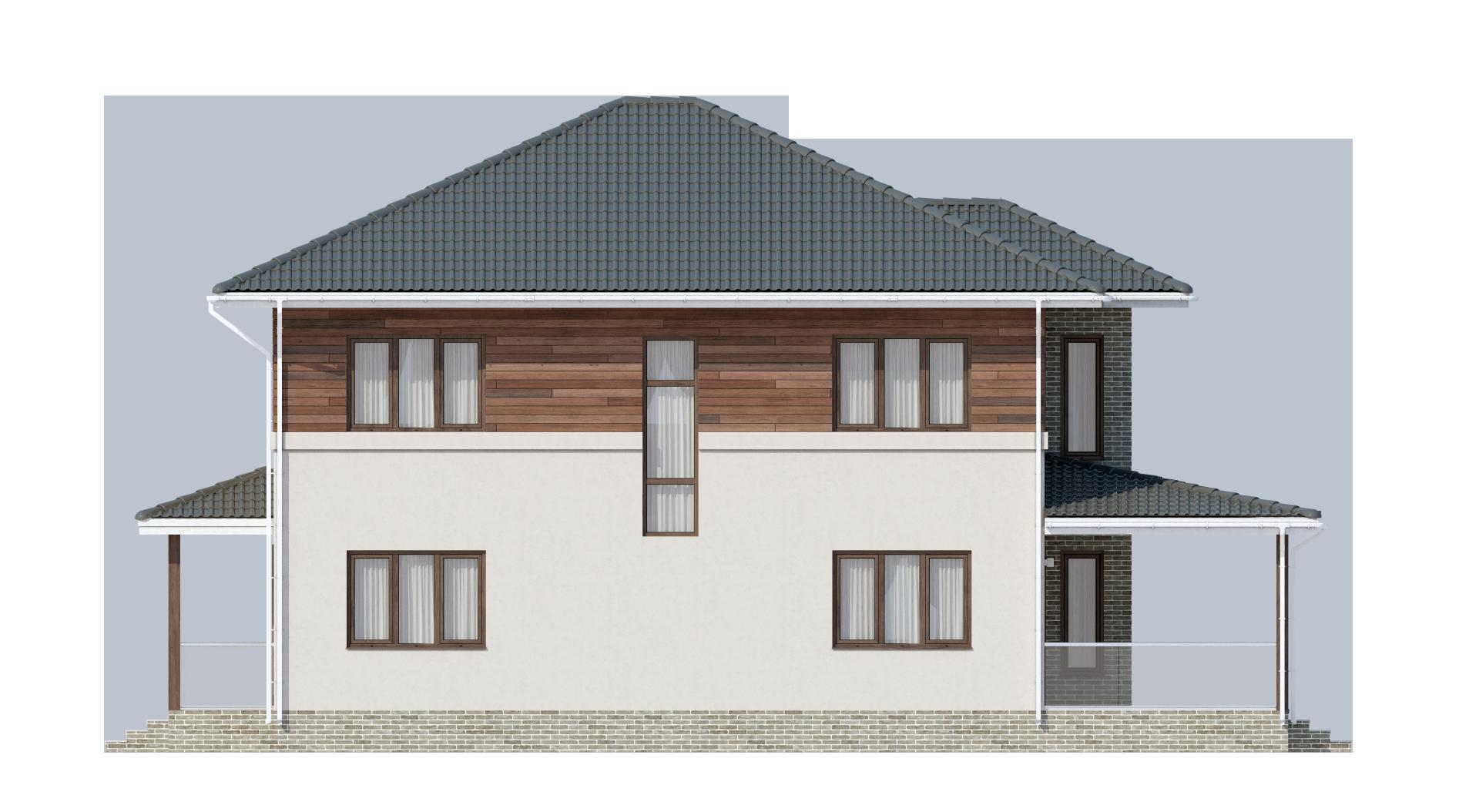 Двухэтажный дом с шатровой кровлей А19029