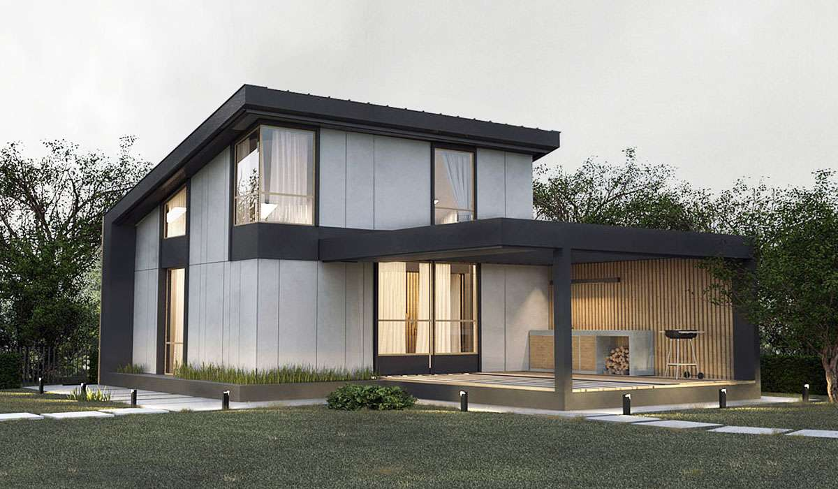 Современный двухэтажный дом с террасой А19017