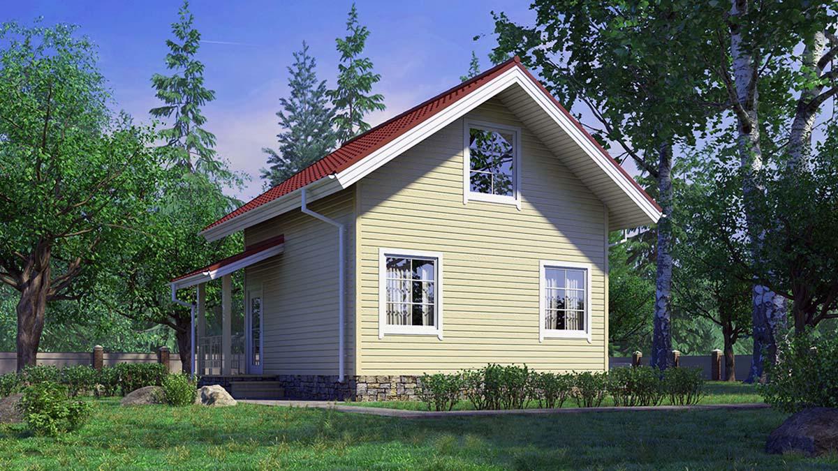 Двухэтажный домик с крыльцом А19001