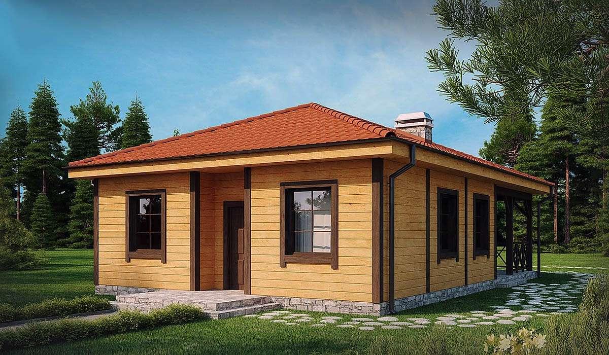 Одноэтажный дом с террасой и вальмовой кровлей А19010