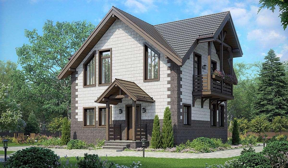 Двухэтажный дом с балконами А19011