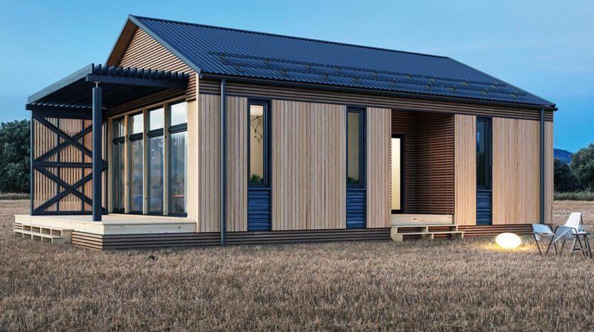 Небольшой современный одноэтажный дом с террасой А19005