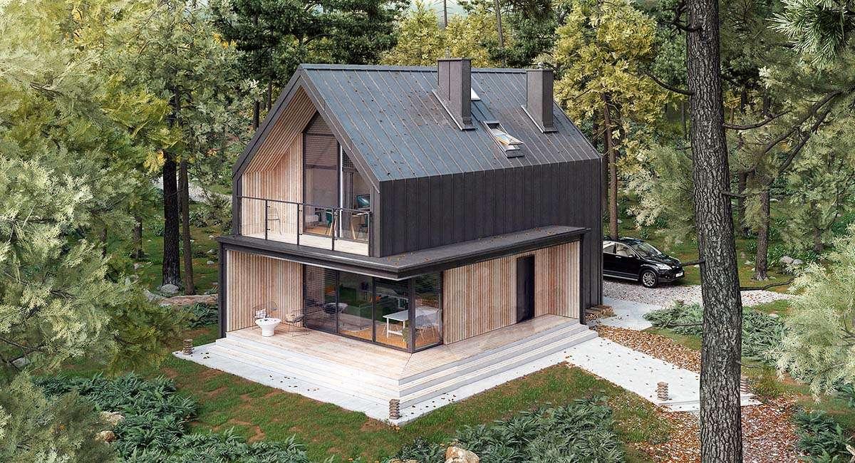 Современный двухэтажный дом А19006