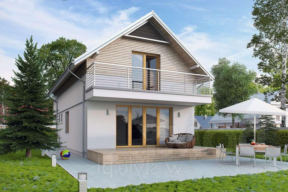 Двухэтажный дом с балконом и верандой А19014